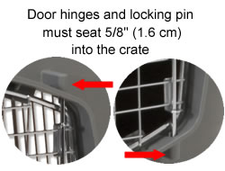 crate door hinge must be seated in the carrier